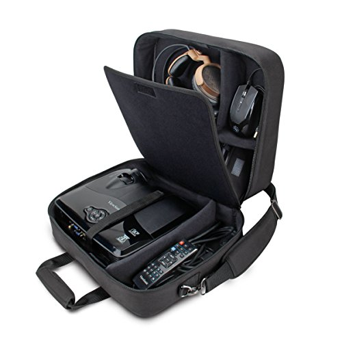 USA Gear Projector Case - Video Projector Bag Compatible with DBPOWER, ViewSonic PJD5134, Dr. J HI-04, and More Projectors - Scratch Resistant, Shoulder Strap, and Customizable Dividers (Black)
