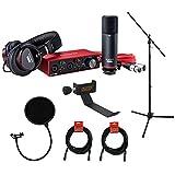 Focusrite Scarlett 2i2 Studio 3ª generación 2 pulgadas, 2 salidas interfaz de audio USB con micrófono y auriculares, trípode para micrófono + boom, soporte para auriculares, filtro pop y 2 cables XLR