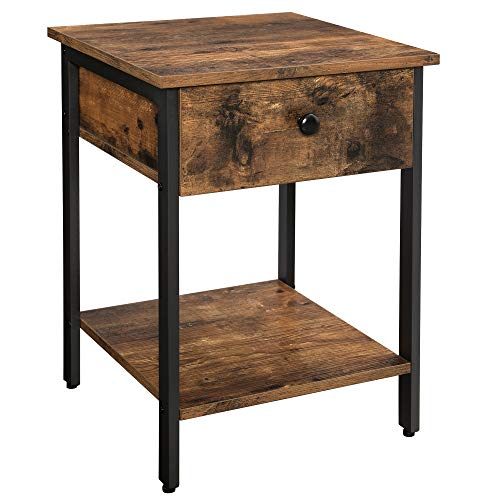 VASAGLE Nightstand, End Table, Side Table with Drawer and Shelf, Bedroom, Easy Assembly, Steel, Industrial Design, Rustic Brown and Black ULET55BX