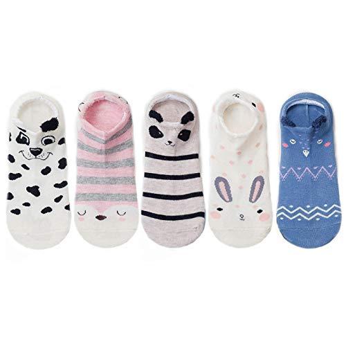FENGHUAN 5 Pares de Calcetines de algodón para Mujer estereoscópicos Lindo Animal Gato Femenino con Perro Calcetines Cortos Mujeres Asual Calcetines Suaves y Divertidos 5pairs02