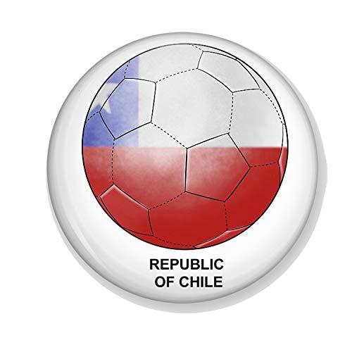 Generic Gifts & Gadgets Co Anstecker Chile Flagge auf Fußball 25 mm Schmetterling Kupplung Pin Rückseite rund Abzeichen