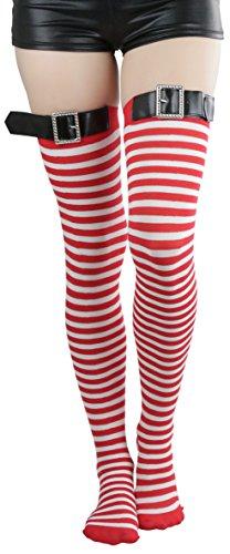 ToBeInStyle Damen Strumpfwaren Dünn Gestreifte Oberschenkelhoch Lang Strumpf, Gestreifte Oberschenkelstrümpfe mit schwarzer Schnalle – Rot/Weiß, Einheitsgröße