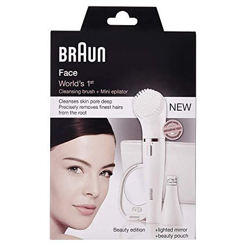 Braun Face SE831 Epilatore e Spazzola di Pulizia per il Viso, Edizione Beauty con Specchio Illuminato e Pochette, white
