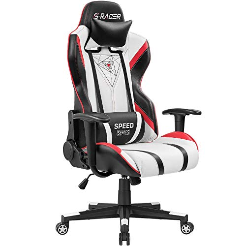 Homall Gaming Racing Office High Back PU Leather Computer Desk Executive and Ergonomic Swivel Chair with Headrest (Red), Black (Renewed) chair gaming red
