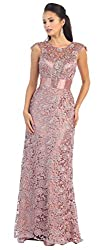 Dusty Rose Cap Sleeve Rhinestones Lace Dress #27182