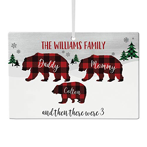 Let's Make Memories - Personalized Family Christmas Ornament - Custom Beary Merry Holiday Ornament - Rustic Plaid Decor - Two Adults, Up to Four Kids - Composite Wood - 6'x4'