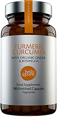 Vegan Turmeric Curcumin Capsules – Ultra High Strength 5000mg Turmeric Extract Equivalent (3-Month Supply) Plus Ginger & Boswellia – Advanced Turmeric Tablets Formulation – Made in The UK