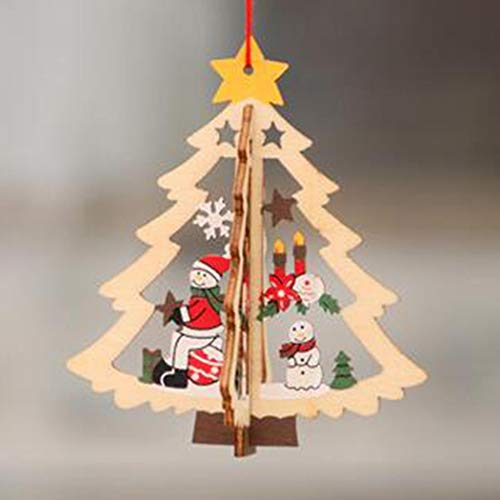 Geroki Christmas Ornaments Wooden Hanging Christmas Tree Decoration for Holiday Party