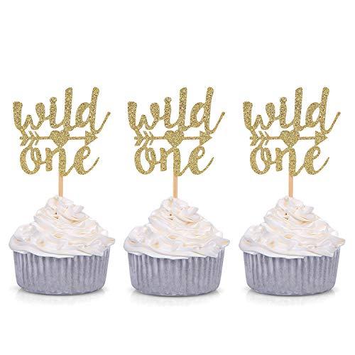 Set von 24glitter gold Wild One Cupcake Topper Boho Party Baby 'sbirthday Dekore–von giuffi