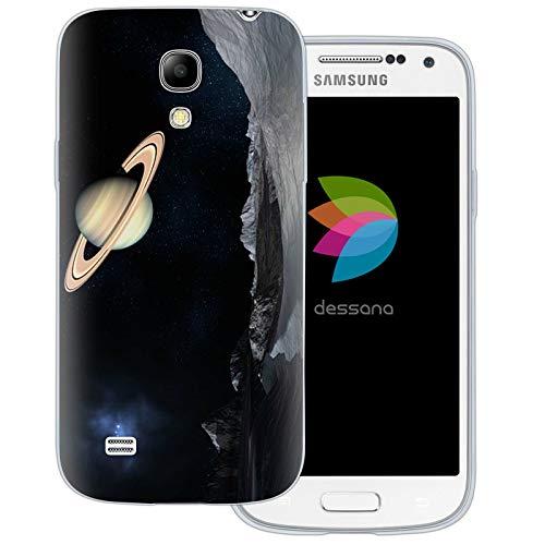 dessana Universum transparente Schutzhülle Handy Case Cover Tasche für Samsung Galaxy S4 Mini Weltraum Saturn