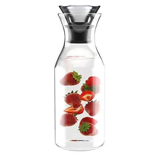 Comfify 1L Tropf-Freie Borosilikat-Glaskaraffe mit Deckel - Wasserkaraffe - Glaskrug für heiße & Kalte Getränke - EIS- Tee-Krug - Saft Ausguss - Glas mit Deckel