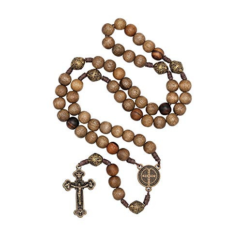 Intercession Our Father Sacred Handmade Solid Wood Rosary (St Benedict - Walnut)