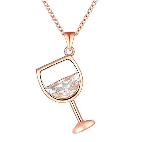Onefeart Weißes Gold überzogen für Halskette zum Frauen Sonderschnitt Zirkonia Weinglas Gestalten Mode Persönlichkeit Stil Rose Gold
