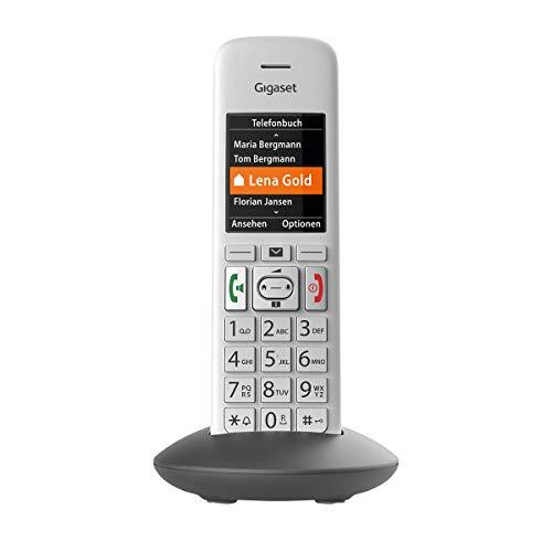 Gigaset E370HX Universal-Mobilteil – Schnurloses IP-Handy (zum Anschluss an Fritzbox oder Cat-iq Router – sichere Bedienung dank großer Tasten, SOS-Funktion & großem Farbdisplay) silber-grau