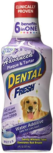 Dental Fresh Water Additive – Advanced Plaque and Tartar Formula for Dogs – Clinically Proven, Add to Pet's Water Bowl to Whiten Teeth