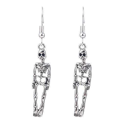 LeftSuper Auriculares Personalidad de la Moda Pendientes de Esqueleto Humano Pendientes de Calavera Retro Accesorios de Halloween