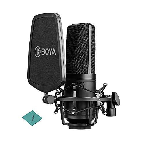 BOYA BY-M1000 Micrófono de Condensador de diafragma de Gran tamaño Profesional Kit de micrófono Podcast Cardioide/Omnidireccional/Bidireccional con Filtro Pop Pop de Doble Capa Montaje de
