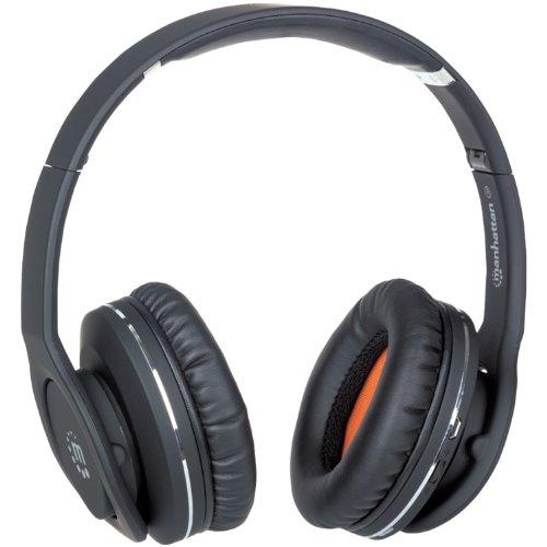 Manhattan Fathom Bluetooth-Kopfhörer/Headset schwarz 178709 für Handys, Smartphones, iPhones, iPads, Laptops, Tablets, PCs