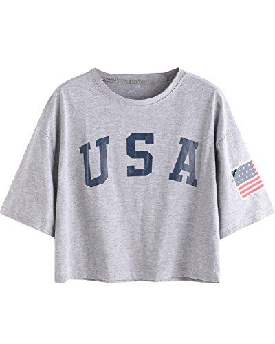 SweatyRocks Women's Letter Print Crop Tops Summer Short Sleeve T-shirt (Large, Grey)
