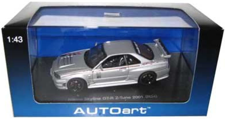 Nissan Skyline GTR Z Tune R34 2001 Silver 1 43 Autoart Diecast Car Model (japan import)