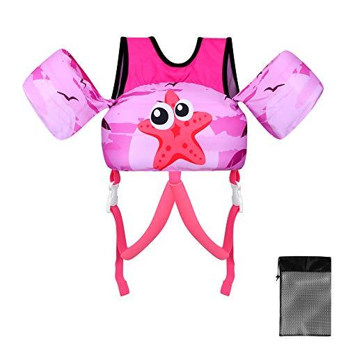 TOAUXUNG Schwimmjacke für Kinder Schwimmflügel, Einstellbar Sicherheitsgurt für Kleinkinder von 2-6 Jahre Jungen und Mädchen 10-25kg zum Schwimmenlernen Schwimmbad Strand Wasserpark …