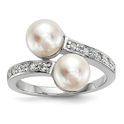 Diamond2deal Ring Sterling-Silber 925 8 mm Süßwasser-Zuchtperle Zirkonia Größe 6