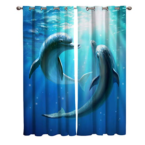 KAROLA Grommet Kitchen Curtains for Bedroom Living Room Laundry Window Treatment Drapes,Lovers Dolphins Underwater Blue Ocean Picture Print 2 Panels 52x63 Inch