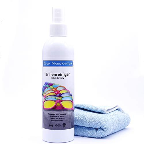 Blum Manufaktur Brillenreiniger 250 ml - Brillenreinigungsspray - inkl. Mikrofasertuch 30 x 30 cm - hochwertiges Brillenputzspray - Made in Germany
