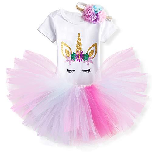 NNJXD Unicornio Arco Iris Tutú Primer Cumpleaños Trajes de 3 Piezas Mameluco + Falda + Diadema 1 Año D-Rosa