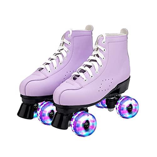 ZXSZX Rodillos Mujeres, Patines Roller Girl Scooter Patines con LED Luz Línea Doble Línea Patines 4 Ruedas Dos Zapatos Patinaje Línea para Adultos, Lila-41
