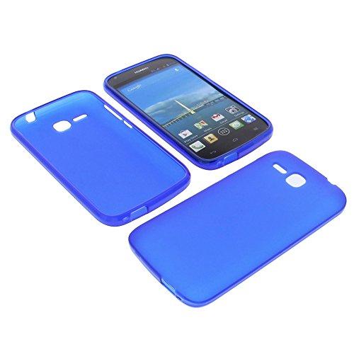 foto-kontor Tasche für Huawei Ascend Y600 Gummi TPU Schutz Hülle Handytasche dunkelblau