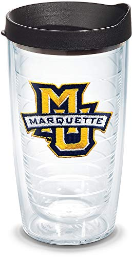 Tervis Marquette Golden Eagles Logo Tumbler with Emblem and Black Lid 16oz, Clear