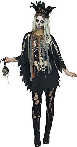 shoperama Voodoo Priesterin Damen Poncho mit Skelett-Druck und 3D-Knochen Schamanin Witch Doctor Umhang
