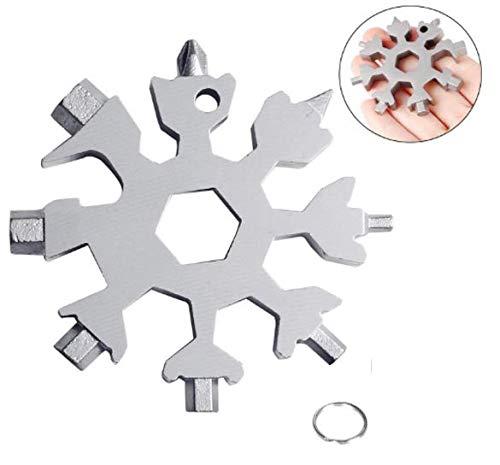 Anlising Schlüsselbund Schraubendreher 18-in-1 Multi Tool Tragbares Schneeflocke Werkzeug Multifunktionswerkzeug aus Edelstahl Schneeflocke Multitool Flaschenöffner Ringschlüssel