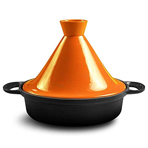 WM Marokkanische Tajine Pfanne 25cm100% bleifreie Sicherheit Slow Cooker Gusseisen Material Geeignet für großes Kochen für 3-5 Personen,Orange