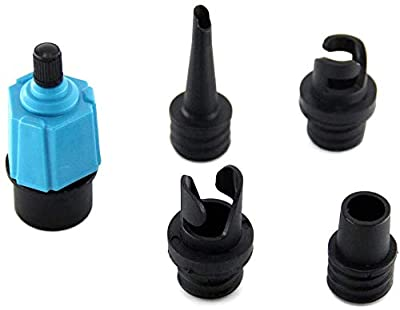 SUP Pump Adaptor Compressor Air Valve Converter? Multifunctional Standard Conventional Air Pump Adapter with 4 Standard Air Valve Nozzles for Valves Kayak Inflatable Boat Raft Foot Stand Up Board