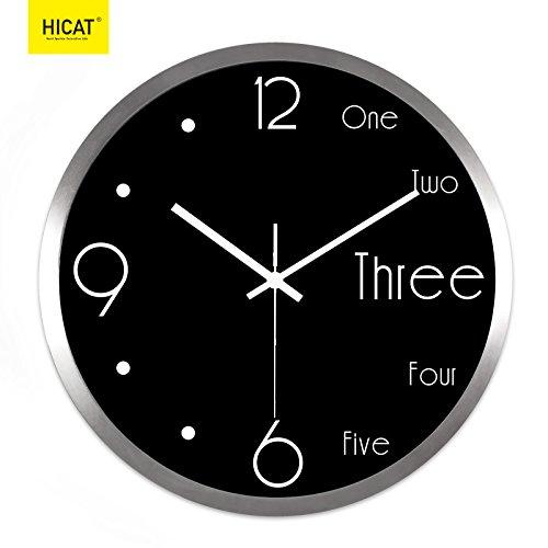 reloj digital de pared Mute Decoración Aula escolar clase reloj de pared digital estudio de oficina decoración del hogar reloj de cuarzo ultra silencioso, 12 pulgadas, marco plateado negro