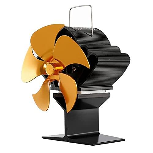 Ventilador de la chimenea para el hogar con la distribución de calor de alta eficiencia Black Chimenea Fan de la chimenea 5-Blade Estufa térmica del ventilador de ventilador de invierno quemador,Oro