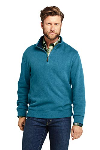 Lands' End Men's Bedford Rib Heathered Quarter Zip Sweater Large Teal Heather