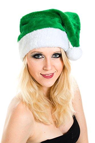 Ciffre Weihnachtsmütze Nikolausmütze Plüsch Grün Mütze Dicker Stoff Nikolaus Santa
