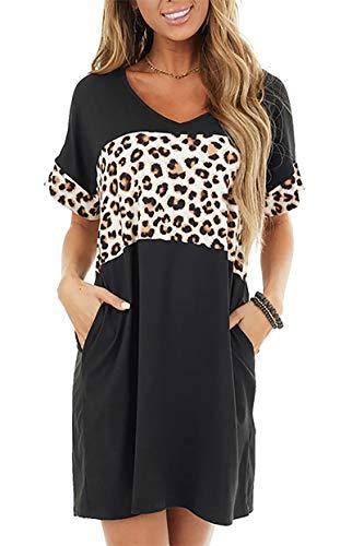 Lingnaxuan Vestido de manga corta con estampado de leopardo, cuello en V, manga corta, casual, con bolsillo