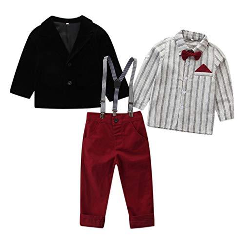 H.eternal Conjunto de ropa de bebé niño pajarita camisa hombre traje +...