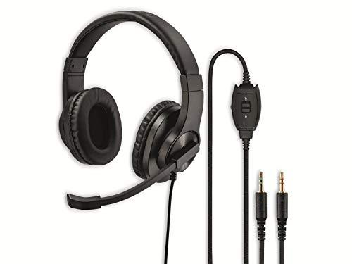 Hama PC Headset, Over Ear Kopfhörer mit Mikrofon (Headset mit Lautstärkenregler und verstellbarem Mikrofonarm, für Videokonferenzen, Homeoffice, Callcenter, eLearning, 2 Klinkenstecker 3,5mm) schwarz