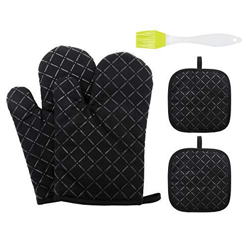 5er Ofenhandschuhe und Topflappen Set - kochhandschuhe Hitzebeständig 464℉ Topfhandschuhe Silikon Küchenhandschuhe Ofenhandschuhe Backofen Handschuhe Ofenhandschuhe Hitzebestaendig (Schwarz)