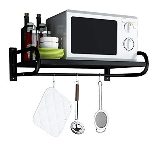 Wrought Iron Microwave Oven Wall Mount Bracket 2 Tier Kitchen Supplies Tableware Storage Counter Space Saver Cabinet Organizer Spice Holder, Black