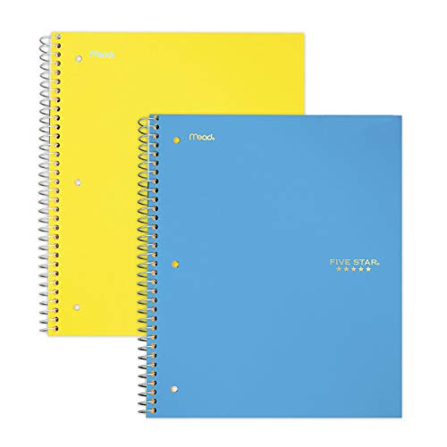 """Five Star Spiral Notebooks, 5 Subject, College Ruled Paper, 200 Sheets, 11"""" x 8-1/2"""", Teal, Yellow, 2 Pack (73509)"""