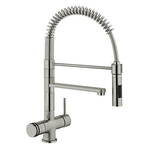 Designer molla a spirale di rubinetto a tre vie Luxury Pure, look acciaio inox 56 cm per freddo, caldo e acqua filtrata. Un tocco speciale per una niveauvolle. MADE IN ITALY.