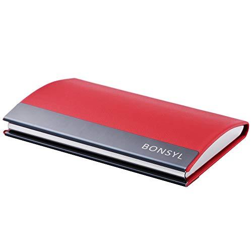 BONSYL®Tarjeteros Piel y Acero Inoxidable, Tarjetero para Tarjetas de Crédito con Bloqueo RFID para Hombre y Mujer. (Rojo)