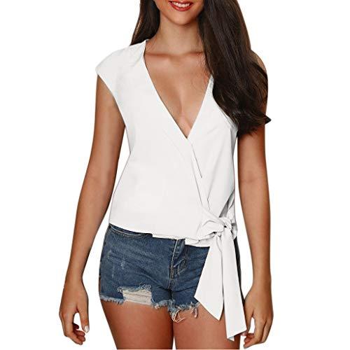 Janly - Chaleco casual para mujer, talla grande, manga corta, cuello en V, botones de verano, para mujer, color blanco (L)