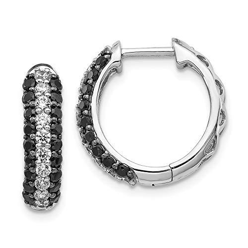 14k White Gold Black Diamond Hinged Hoop Earrings Ear Hoops Set Fine Jewellery For Women Gifts For Her